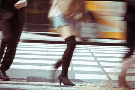 zebra crossing with blur motion photo