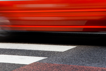tokyo prefecture: abstract image of taxi with zebra crossing in tokyo on motion