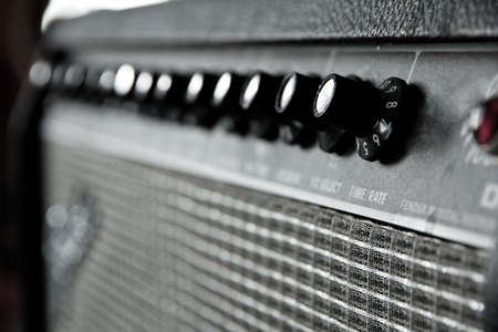 close up image of guitar amplifier