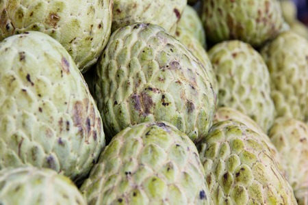 custard apple: Custard apple in market background Stock Photo