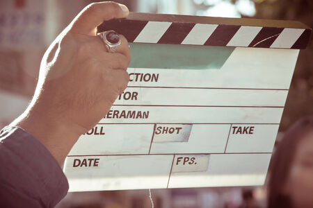 film director: behind the scene, film crew production set Stock Photo