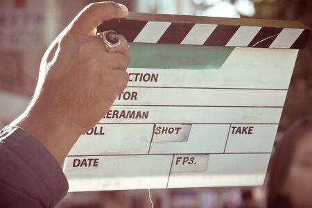 pelicula cine: detr�s de la escena, ajusta la producci�n equipo de la pel�cula Foto de archivo