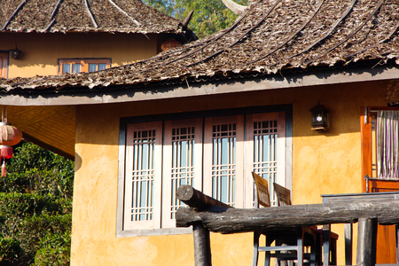 dated: ancient house at Ban Rak Thai (the Thai-loving village) Chinese refugees settling in Northern Thailand can be dated back to the 1949 Communist takeover in China,is a village near Mae Hong Son. Stock Photo