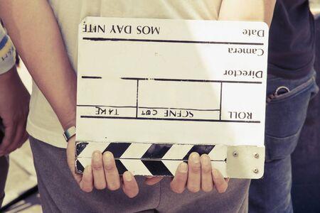 film crew: Film Slate,behind the scene, film crew production set