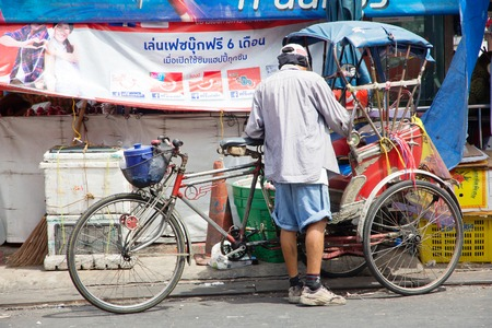 NONTHABURI PROVINCE,THAILAND - JUNE 1 2015 : Rickshaw in Nonthaburi Province on June 1 2015. The Rickshaws are a popular way to tour the city. Rickshaw in Nonthaburi, Traditional vehicle of Thailand Editorial