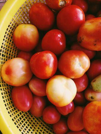 street market: Close up of Ripe Tomatoes on street market Stock Photo