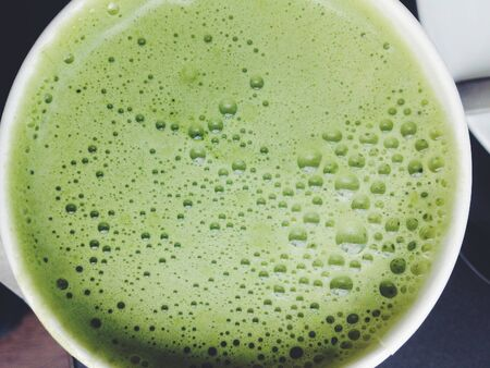 maccha: Close up Greentea matcha latte background