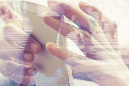 street people: Double exposure of using smart phone and people walking on street background Stock Photo
