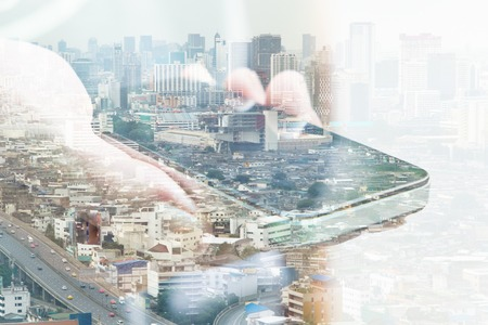 vida social: communication technology concept. Double exposure image of people with smart phone and cityscape background