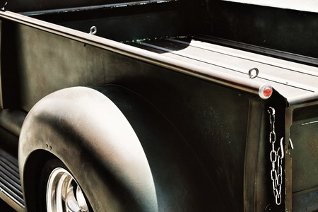 pickup truck: Vintage Pick-up Truck Side Rear View