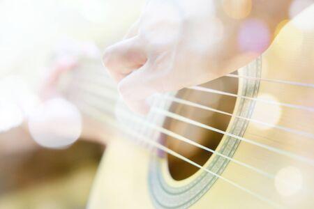 multiple exposure: Multiple exposure of guitar player and Bokeh