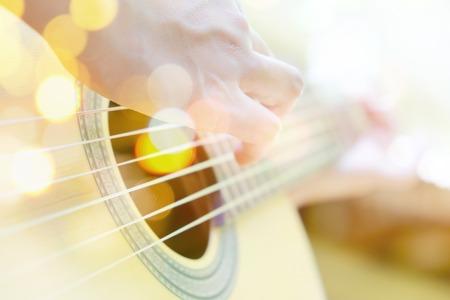 multiple exposure: Multiple exposure of guitar and Bokeh