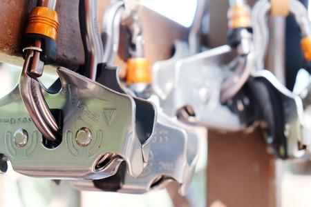 carabiner: Climbing gear,Rock climbing equipment background Stock Photo