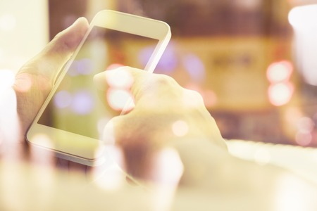 wireless telephone: close up image of people using smart phone, Multiple exposure of smart phone and Bokeh