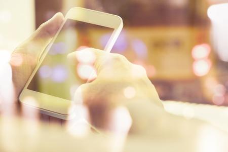multiple exposure: close up image of people using smart phone, Multiple exposure of smart phone and Bokeh