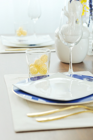 Close up of Place settings on elegant dining table