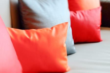 soft furnishing: Colorful cushions in sofa.