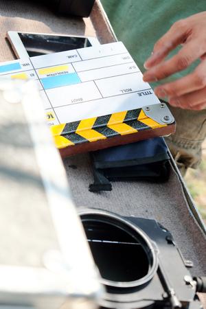 film crew: film slate and film crew production set