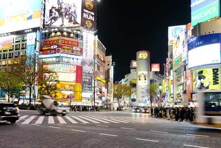 crowds of people: Tokyo, Japan - March 29, 2016: Shibuya Crossing at Night, Crowds of people at Shibuya Crossing on 29 March 2016 in Tokyo, Japan. Shibuya Crossing is one of the busiest crosswalks in the world.