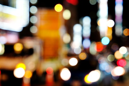 tokyo prefecture: Out of focus lights in tokyo street at night