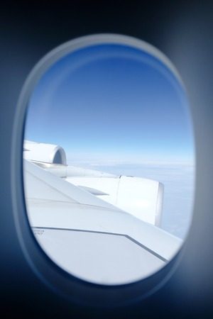 window view: View from an airplane window. Stock Photo