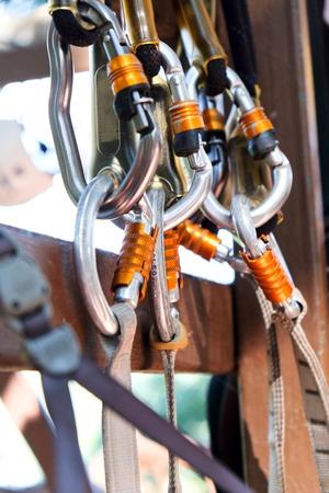 belaying: Climbing gear,Detail of Rock climbing equipment Stock Photo