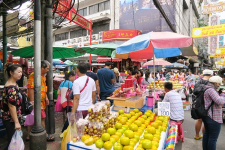 thailand culture: CHINATOWN, BANGKOK,THAILAND-SEPTEMBER 25, 2016:street food at Yaowarat Road. Yaowarat road is various products such as street food, gold shop.Restaurant., Famous and Popular destinations for tourists. Editorial