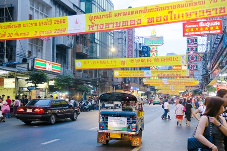 lunar month: BANGKOK, THAILAND - SEPTEMBER 25, 2016 : Chinese Vegetarian Festival on Yaowarat Road, celebration which takes place during the first nine days of the ninth lunar month of the Chinese calenda.