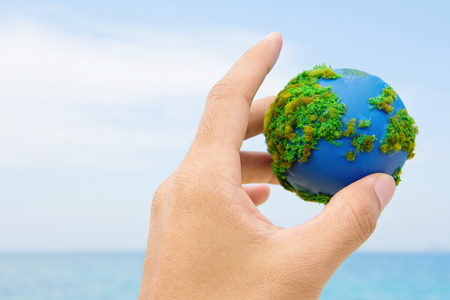 global environment: Earth in hand