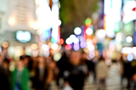 Out of focus lights in Tokyo street at night, Shibuya, Tokyo Japan