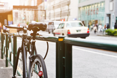 Bike Parking Side of The Street in Tokyo Japan.