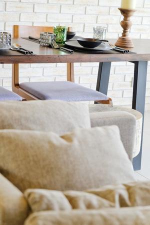 living room design: Detail  image of Cushion on sofa in modern living room