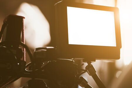 finde: detail of Video camera viewfinder, film crew productio,behind the scenes background