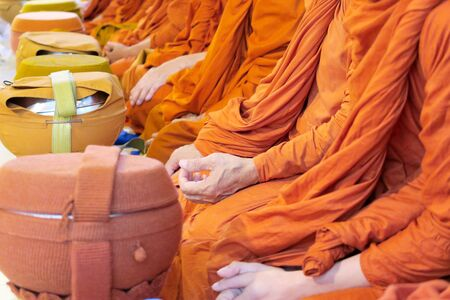 Thai Buddhist monks paying respect.