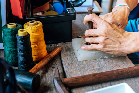 Close up of a craftsman working Stock Photo