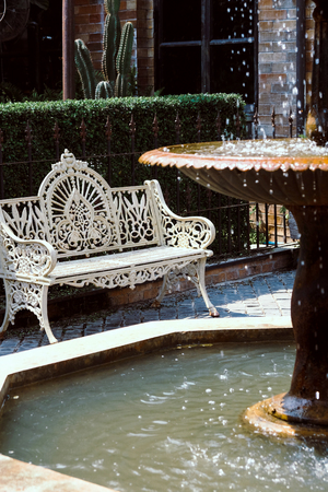 Old vintage furniture in garden Stock Photo