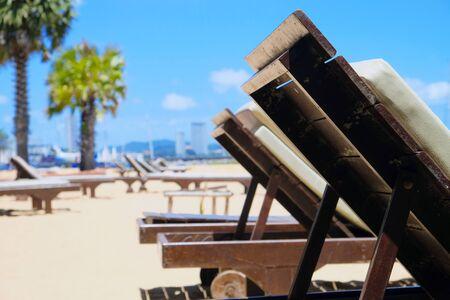 Lounge chairs on the beach 版權商用圖片