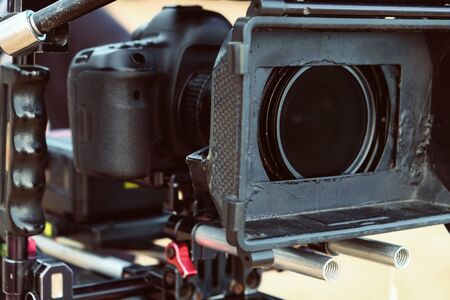 Filming with professional camera background