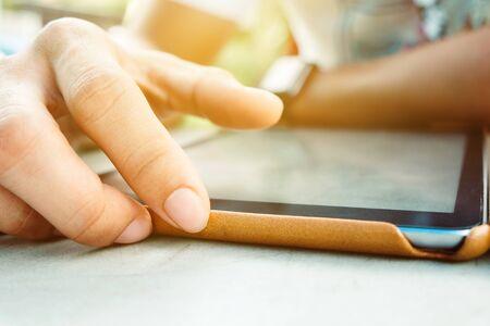 man hands with tablet computer Reklamní fotografie