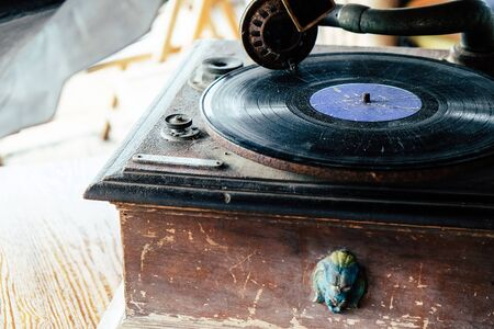 Detail of Antique vinyl record player
