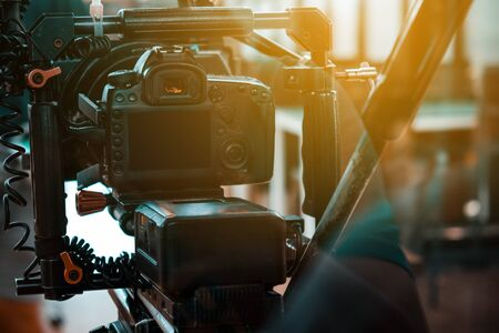 Film industry. Filming with professional camera background Stock Photo