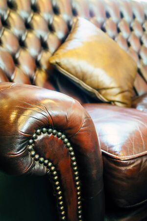 Detail image of vintage of leather sofa