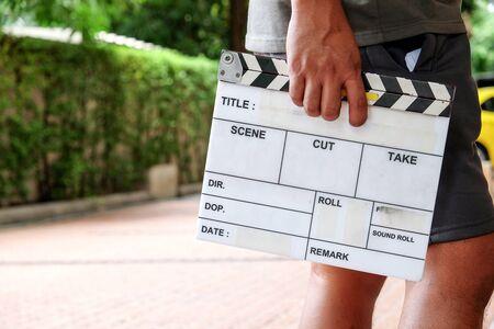 Film Slate, close up image of film production crew holding Film Slate on set
