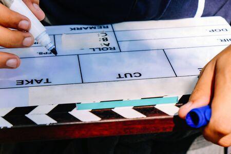 Film Slate, close up image of film production crew holding Film Slate on set Reklamní fotografie