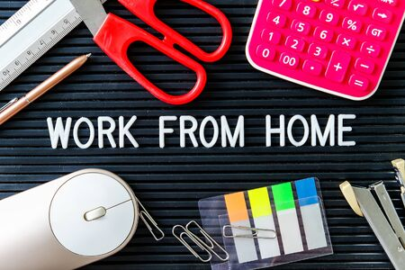 work from home text background