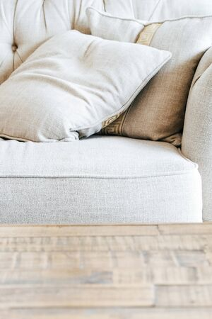 detail image of cushion on sofa, modern living room Stock Photo