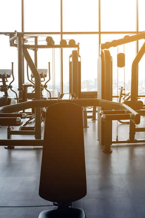 exercise machines in an empty gym