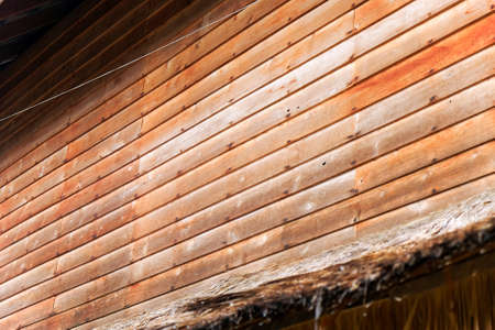 Detail of Old wooden wall , Thailand traditional style house at Nan province, Thailand Banque d'images