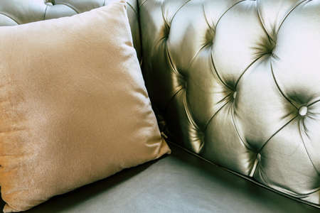 detail image of cushion on sofa, modern living room