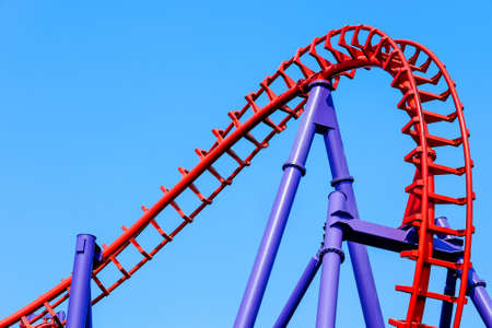 close-up image of a rollercoaster track and the blue sky 写真素材 - 163593655